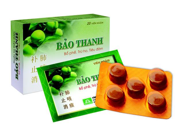 Viên ngậm Bảo Thanh truyền thống (hộp màu xanh, sử dụng phổ biến từ năm 2006 đến nay)