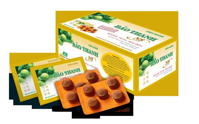 Viên ngậm Bảo Thanh NS (hộp màu vàng, dùng được cho bệnh nhân tiểu đường, ra mắt thị trường năm 2016)