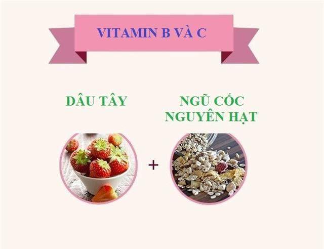 Vitamin B và C được hấp thụ tốt hơn nếu ăn kèm với các loại ngũ cốc nguyên hạt. Bạn có thể thêm sữa chua không béo.